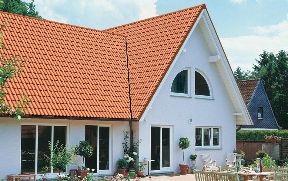 Dachziegel dunkelrot  HARZER PFANNE, ein Dachstein von BRAAS - günstige Baustoffe online.